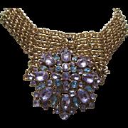 SALE Fabulous BIJOUX TERNER Light Purple & Blue Stones and Gold Plated Mesh Bib Necklace
