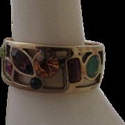 AIROLDI Italy Sterling Vermeil & Gemstones Ring
