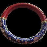 Carved Cinnabar and Royal Blue Cloisonné Bangle Bracelet