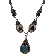 Incredible Mexican Sterling & Turquoise Flower Necklace, 1925