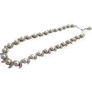 Classic TRIFARI Pale Grey Pearls and Clear Rhinestones Necklace, c. 1950