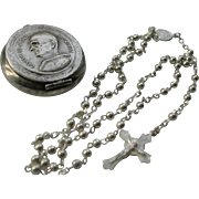 SALE Miniature Souvenir Silver Rosary and Pope Paul VI Case