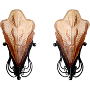 SOLD NOVERDY & G VER French Art Deco Pair Of Wall Sconces 1925 lights