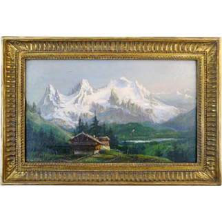"""SALE Benjamin NETTER Oil on Canvas """"Chalet in the Mountain""""  1890"""