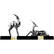 SALE Spelter Antelope Sculpture French Art Deco 1930s