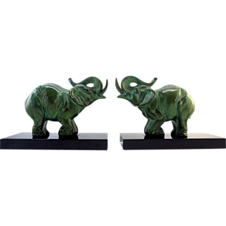 SALE CARVIN French Art Deco Elephant Bookends 1930