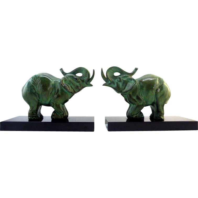 carvin french art deco elephant bookends 1930 from adcgl on ruby lane. Black Bedroom Furniture Sets. Home Design Ideas