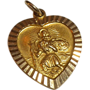VERY LOVELY 1930's Vintage 9ct Gold ST. Christopher Heart Medal CHARM