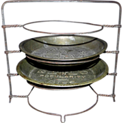 "SOLD Vintage 11.5"" Metal Pie Rack Holder with 2 Blue Bird Pans Plates"