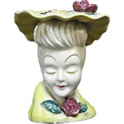 """SALE 5"""" White Skin Gold Accents Lady Head Vase with Hat Minnie Pearl"""