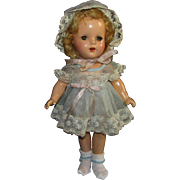 """REDUCED Unmarked 14"""" Mid Century Composition Girl Doll Sleep Eyes Original Clothes"""