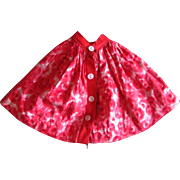REDUCED Vintage Pink Patterned Cotton Skirt for older Small waist Doll