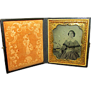 REDUCED Ferrotype or Tintype of a late 19th Century Woman in a Mid-century dress
