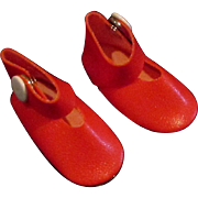 """SALE Pair 2"""" Vintage Red Mary Jane Shoes for Small Doll"""