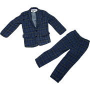 SALE 2 PC Blue Plaid Suit for Ideal Tammy Doll's Dad