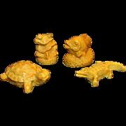 SALE 4 PC Resin Animals Frog  Fish  Turtle and Alligator or Crocodile