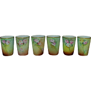 REDUCED Set of 6 Late 19th Early 20th Century Hand painted China Tumblers Glasses Cups