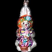 SOLD 1990s Christopher Radko Christmas Ornament Rabbit Bunny Hat Basket Flowers