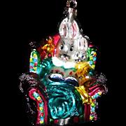 SOLD 1990s Christopher Radko Christmas Ornament Rabbit Bunny Bedtime Bunnies