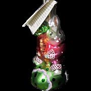 SOLD 1990s Christopher Radko Christmas Ornament Rabbit Bunny Egg Roll Triplet Carrot