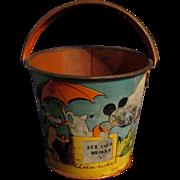 "SALE 1938 3"" Litho Ohio Arts Bryan OH Disney Mickey Sand Pail Ice Cold Drinks"