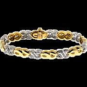 Vintage 18 Karat Yellow And White Gold 88 Pave Set Diamond Swirl Link Bracelet