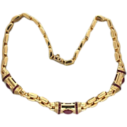 Vintage 18k Gold Italian Three Row Panther Link Cabochon Ruby Necklace