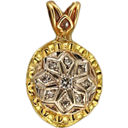 Vintage 1950s Pierced Scroll Design 14k Yellow Gold Round Diamond Pendant White Gold Top