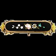 Antique Estate 1890 Flower Pattern Pietra Dura Pin Black Onyx Gold Filled Loop