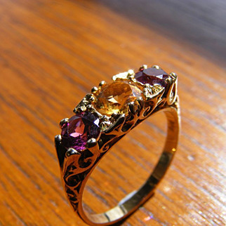 Amethyst and Citrine Trilogy Edwardian Ring