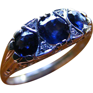 Blue Australian Sapphire and Diamond Trilogy Ring