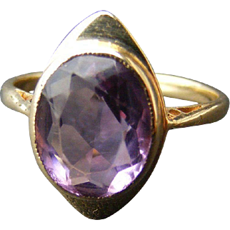 Art Deco Natural Amethyst Ring