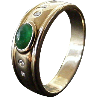Men's Vintage Emerald Cabochon and Diamond Gypsy Ring, Size 11