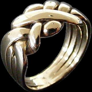 Vintage English Puzzle Ring, Size 7.5