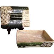 Japanese VIntage Oribe Ware Pottery Square Lidded Box with Bamboo Handles