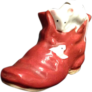 SALE Japanese Vintage Pottery Red Banko Boot Ornament with Applied Playing Mice 2