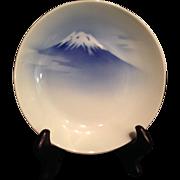 SALE Japanese Antique 深川  Fukagawa Porcelain Blue and White Plate of Mt. Fuji