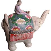 Japanese Vintage Banko Ware Okimono or Statue of a Child on an Elephant