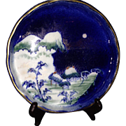 SALE A 19th Century Japanese Antique Koransha Porcelain Plate Moonlit Scene