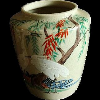Rare Antique Kiyomizu-Satsuma Pottery Vase Signed by Famous Gyōzan 暁山