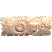 SALE Japanese Vintage Faux Ivory Brooch/ Pin Floral Motif