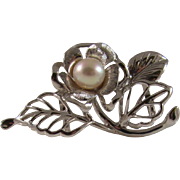 SALE Rare Japanese Vintage Sterling Silver and Akoya Pearl Obidome of Flower with Silk Obijime