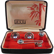 SALE Japanese Vintage Men's Faux Silver and Aquamarine Tie Tack, Clip and Cuff Link Set
