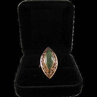 18k Yellow Gold Filigree Set Fine Natural Yellow- Green Nephrite Jade Cabochon Ring