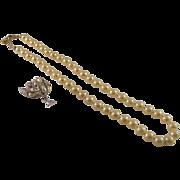 SALE Vintage Monet Faux Creamy Pearl MM Set Silver Tone Earrings Gold Lock Necklace