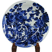 SALE Japanese ko-Imari Porcelain Huge Platter in Blue and White Floral Painting