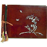 SALE Japanese VIntage Lacquered Cherry Wood Photo Album with Shell Inlay