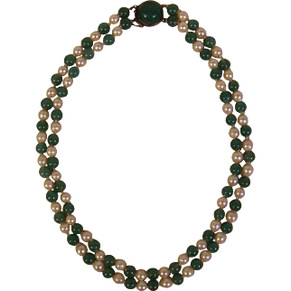 SALE Japanese Vintage Cultured Pearl and Blue Green Jade Double Strand Necklace with Sterling Jade Clasp