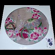 SALE Japanese Cotton Handkerchief Made by Yuzen with Temari Ball Decoration