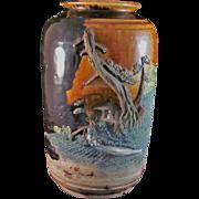 Large Unusual Antique Sumida-gawa-yaki Large Vase in Relief signed Gozan 五山